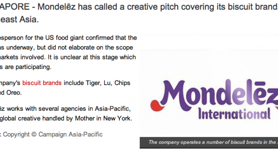 Mondelēz calls creative pitch in Southeast Asia