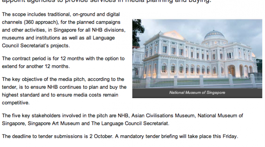 Singapore's National Heritage Board calls media pitch