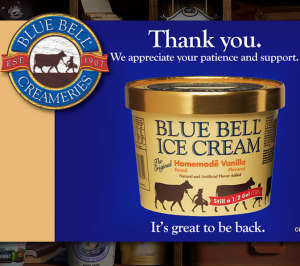 Blue Bell Ice Cream Is Back