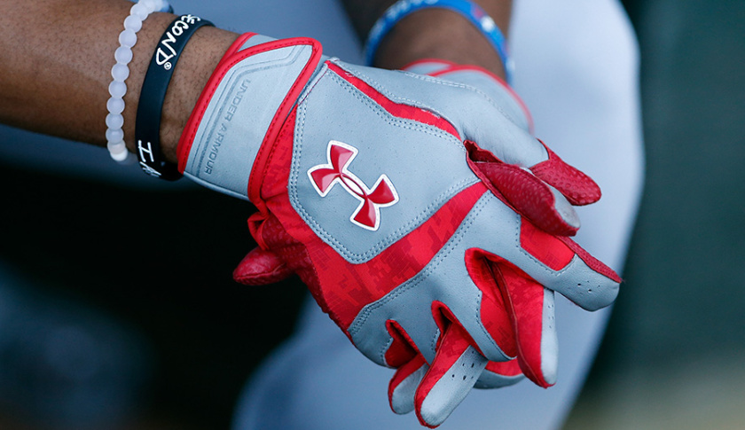 SURPRISE, AZ - OCTOBER 20: Detail of batting gloves worn by Byron Buxton #2 (Minnesota Twins) of the Salt River Rafters during the Arizona Fall League game against the Peoria Javelinas at Surprise Stadium on October 20, 2014 in Surprise, Arizona. (Photo by Christian Petersen/Getty Images)