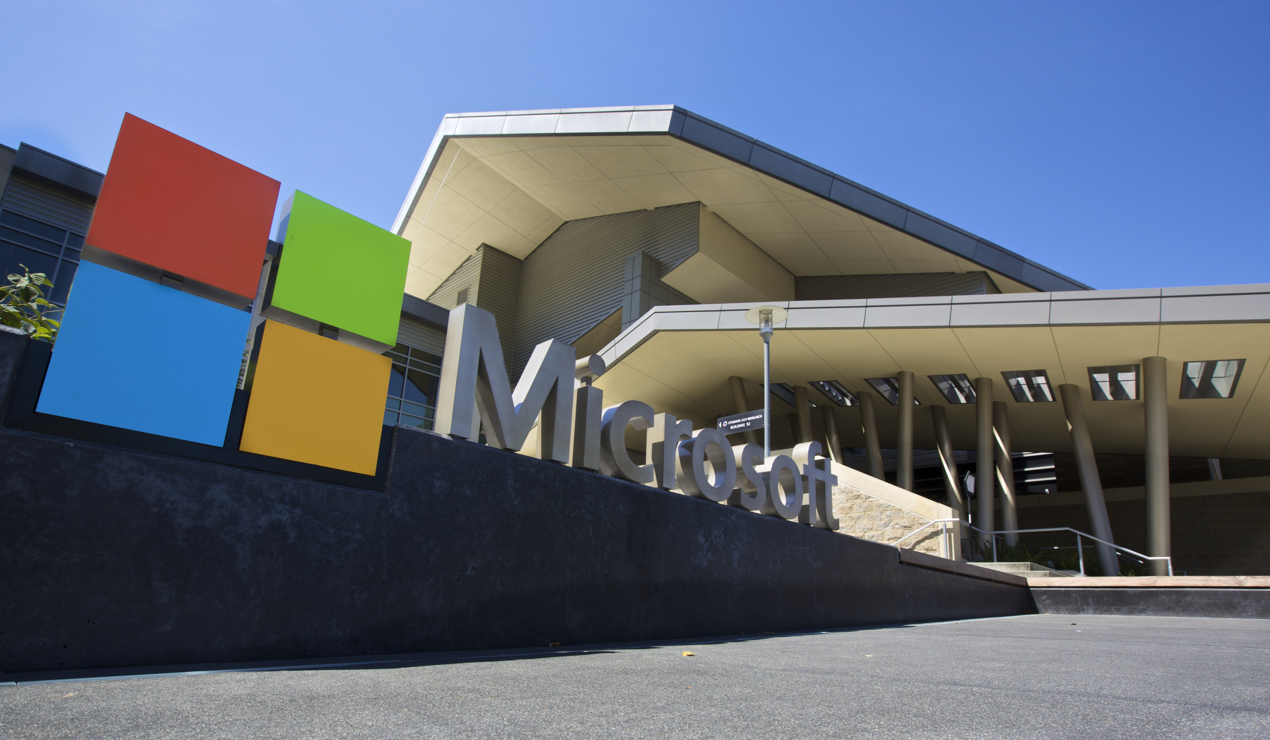 REDMOND, WASHINGTON - JULY 17: The Visitor's Center at Microsoft Headquarters campus is pictured July 17, 2014 in Redmond, Washington. Microsoft CEO Satya Nadella announced, July 17, that Microsoft will cut 18,000 jobs, the largest layoff in the company's history. (Stephen Brashear/Getty Images)