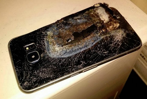 Collect of the exploded Samsung phone. See SWNS story SWPHONE; A mum thought her family's life was in danger when her mobile phone exploded - next to her sleeping toddler. Lucy Pinder, 28, was sleeping next to her three-year-old son Joseph with her phone charging on the floor, when the Samsung device suddenly started smoking and burst into flames. The waitress, whose electrician husband Michael was sleeping downstairs, was sharing her bed with toddler Joseph when the phone woke her up with a giant bang. Lucy said: ÏI woke up to a massive bang and the room was filled with thick smoke.
